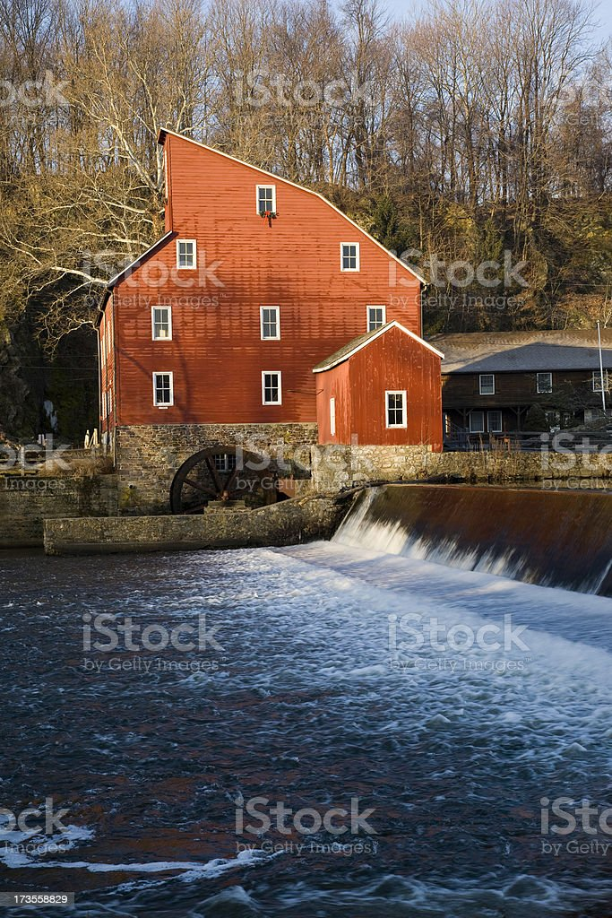 Red Mill and Waterfall stock photo