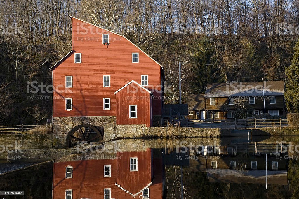 Red Mill with reflection stock photo