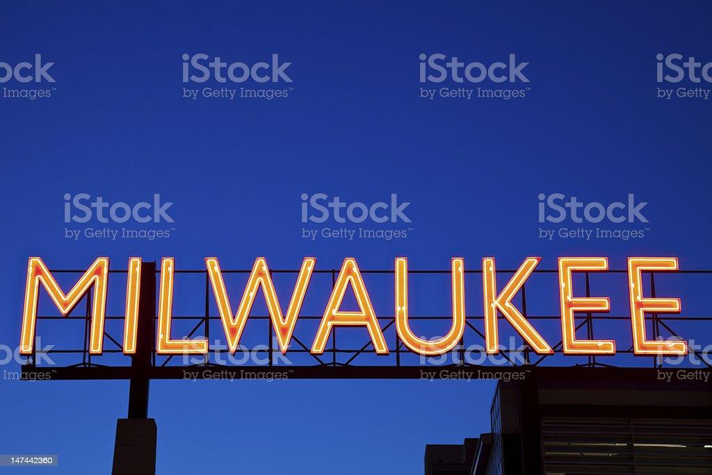 Red Milwaukee sign stock photo