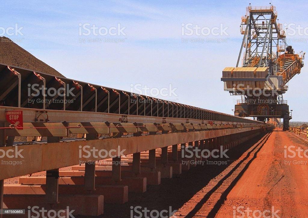 Red mine conveyor stock photo