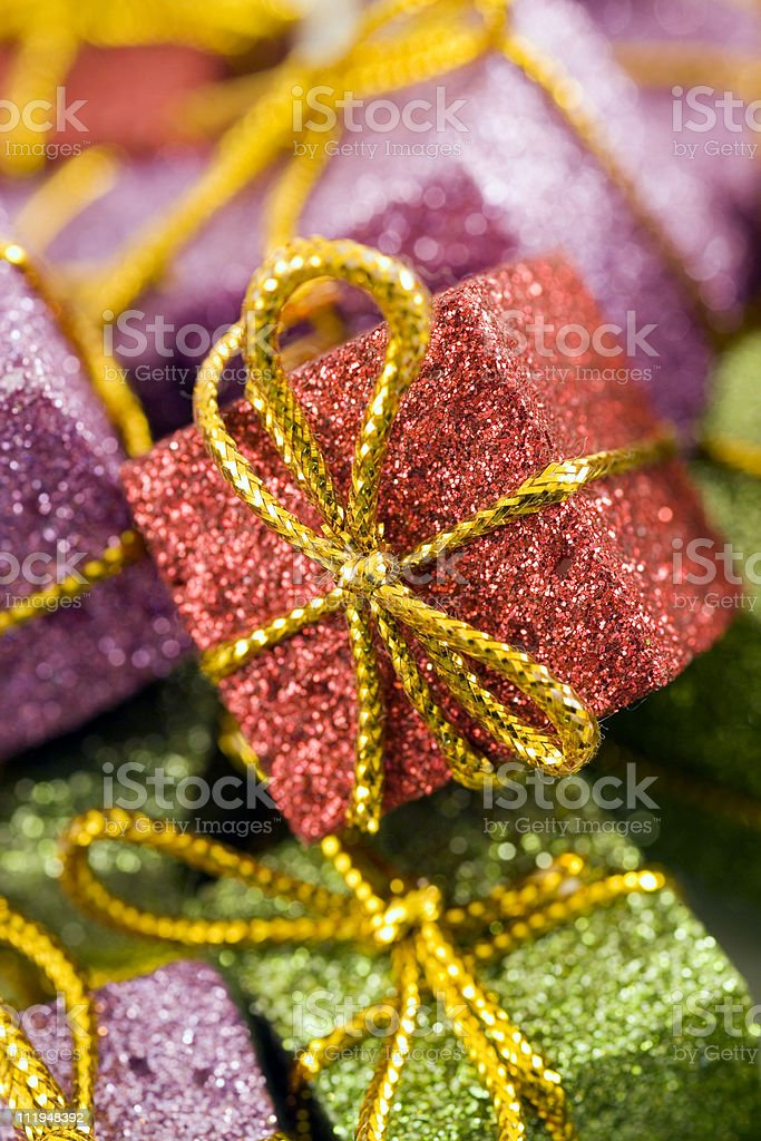 Red mini gift box christmas decoration with narrow focus royalty-free stock photo