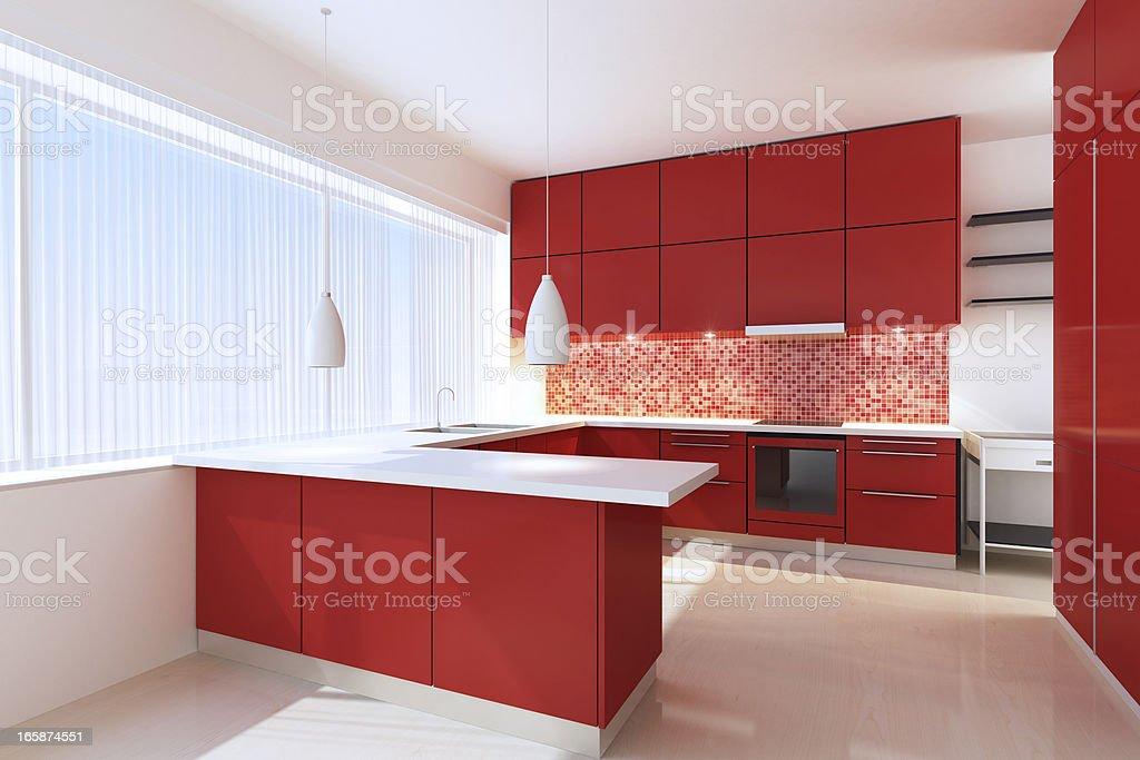 Red Minimalist Kitchen royalty-free stock photo