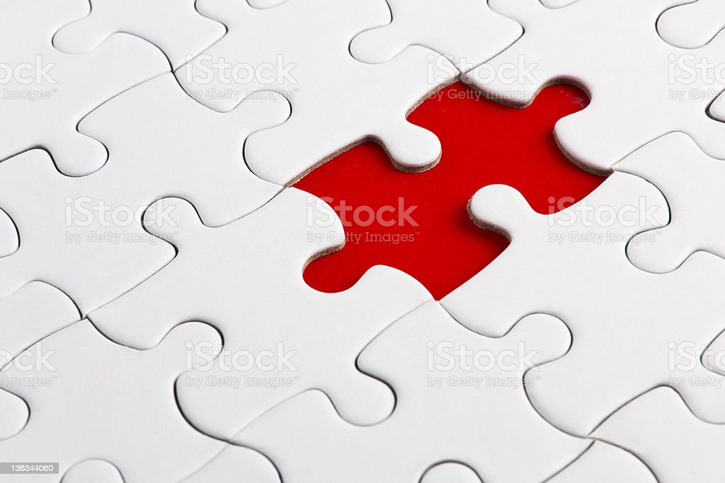 Red missed piece stock photo