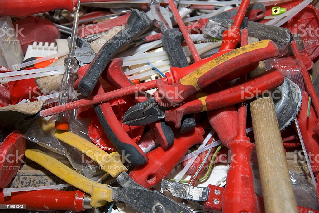 red mixed tools - Werkzeuge durcheinander royalty-free stock photo