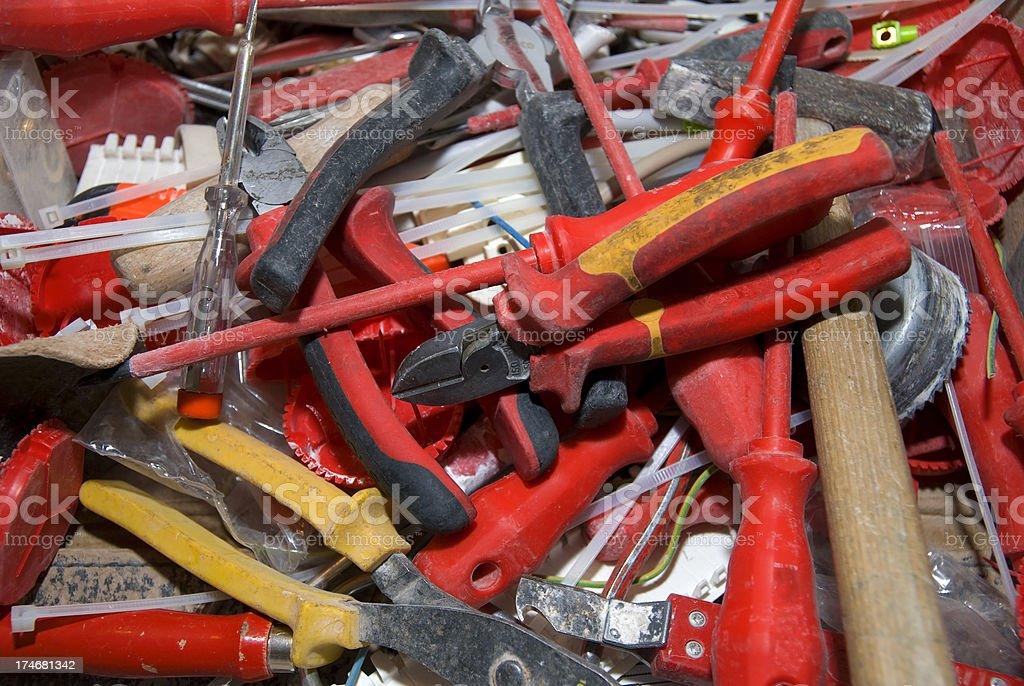 red mixed tools - Werkzeuge durcheinander stock photo
