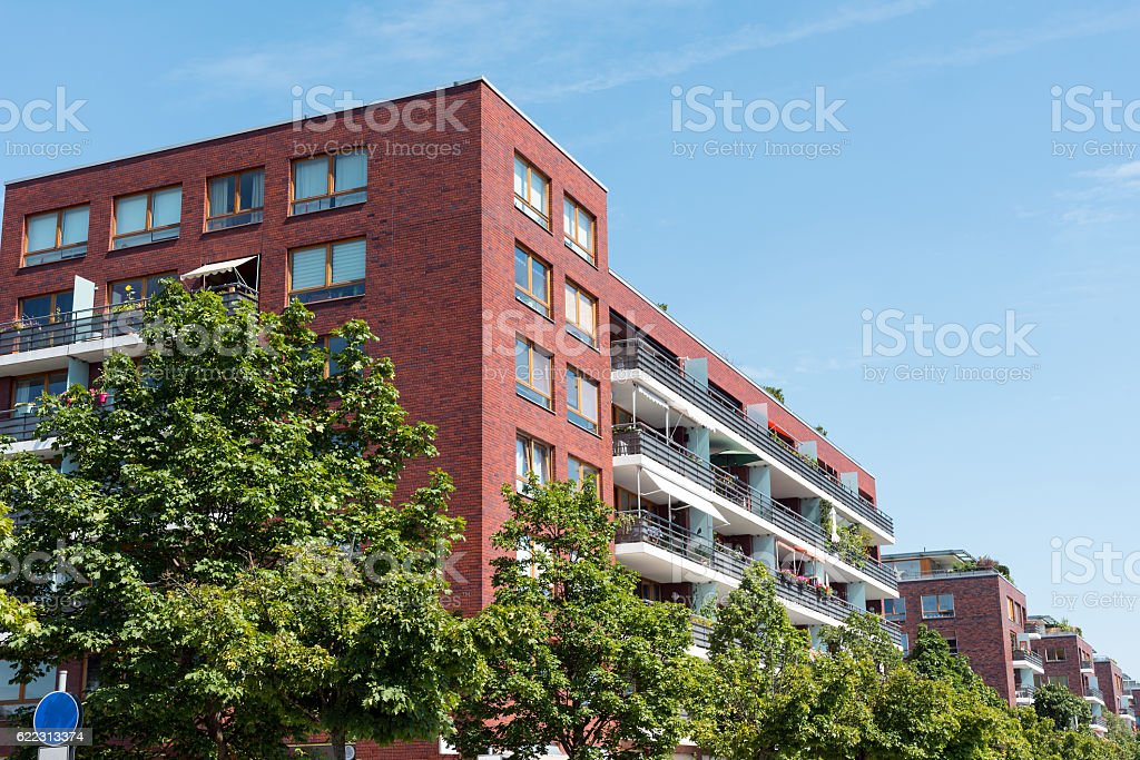 Red modern apartment houses stock photo