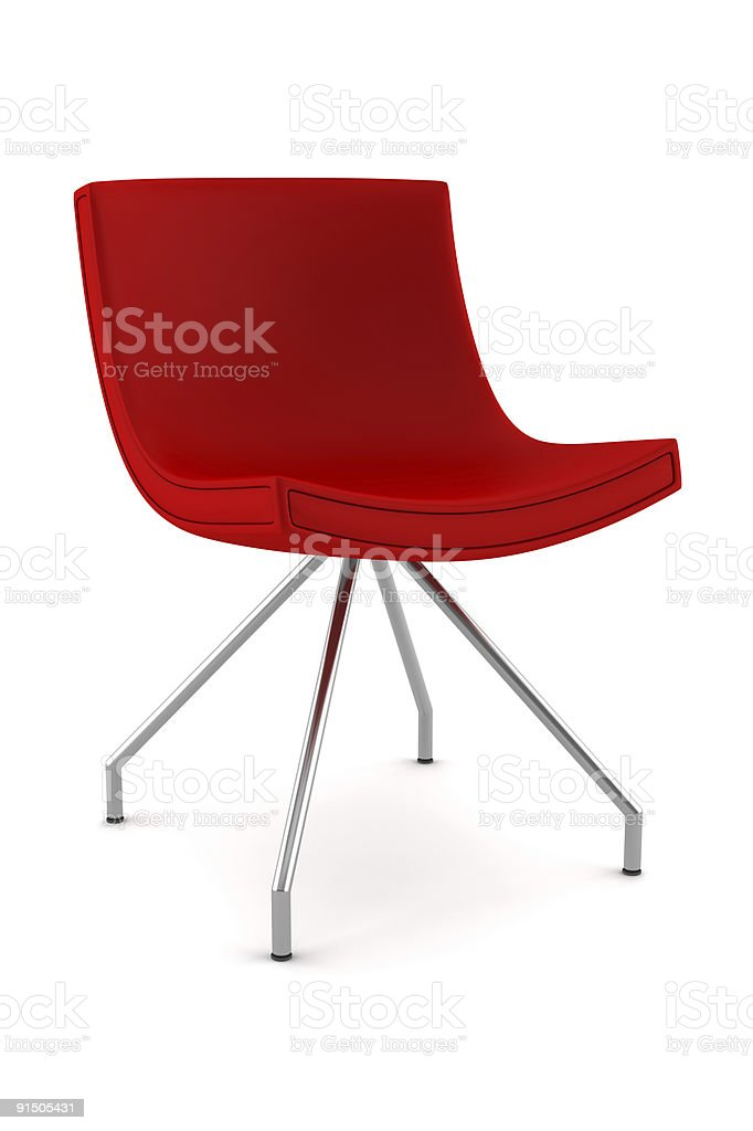 Red modern contemporary chair on white background stock photo