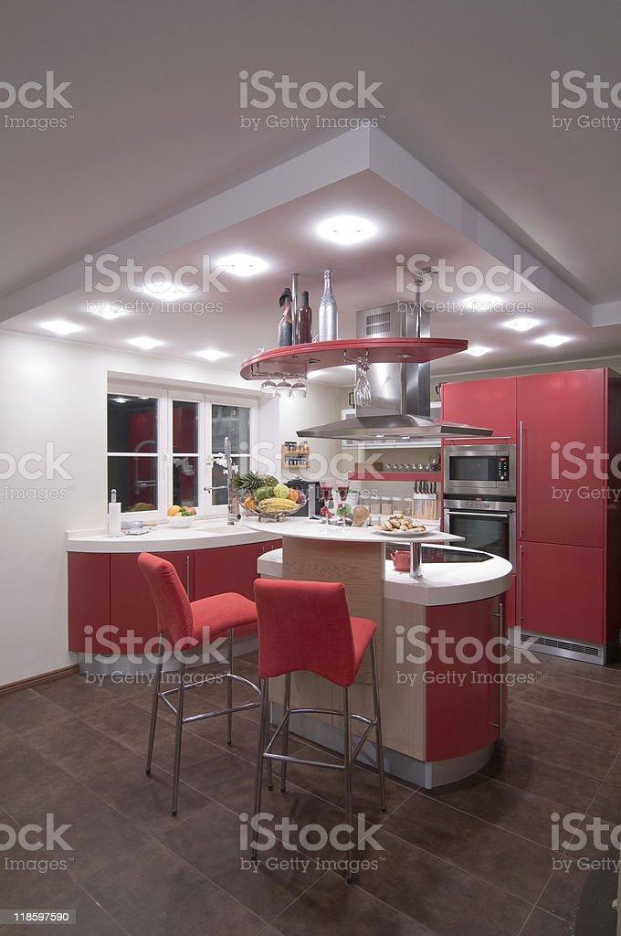Red modern kitchen. royalty-free stock photo