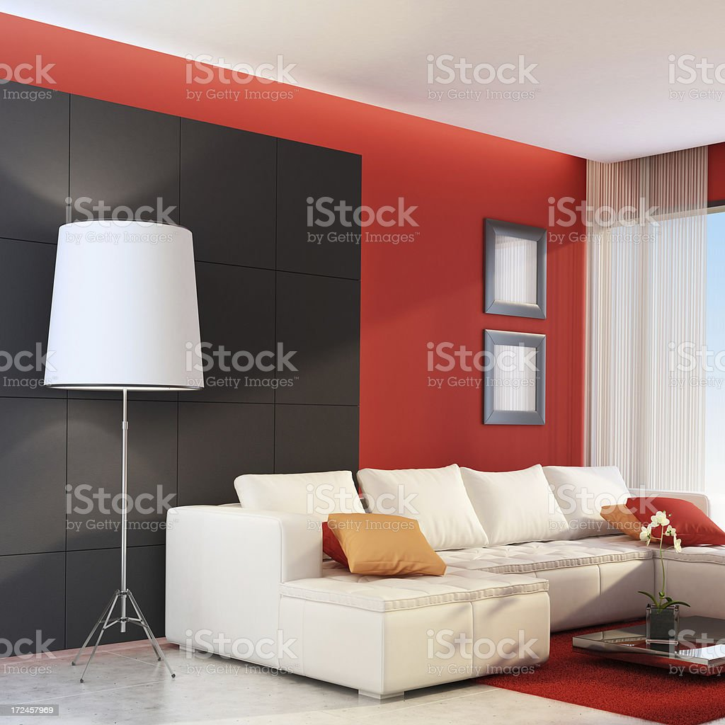 Red Modern Living Room royalty-free stock photo