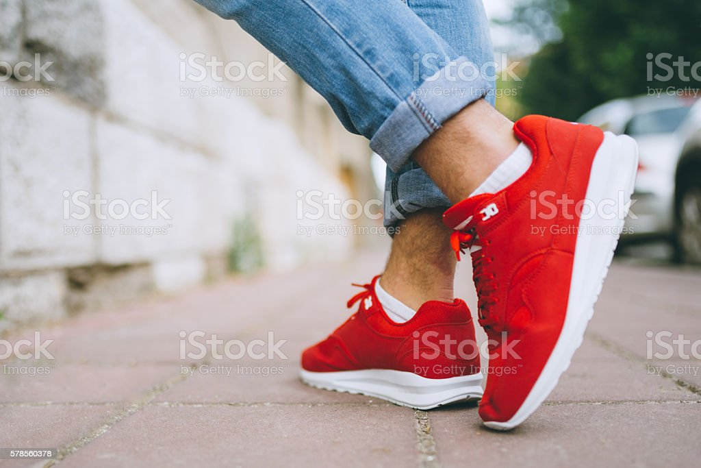 Red modern sneakers stock photo