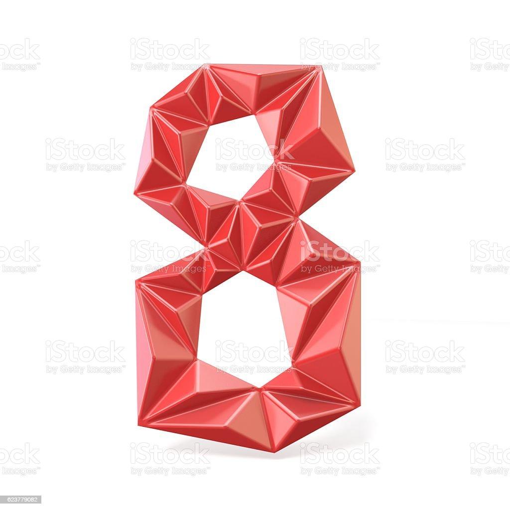 Red modern triangular font digit EIGHT 8 3D stock photo