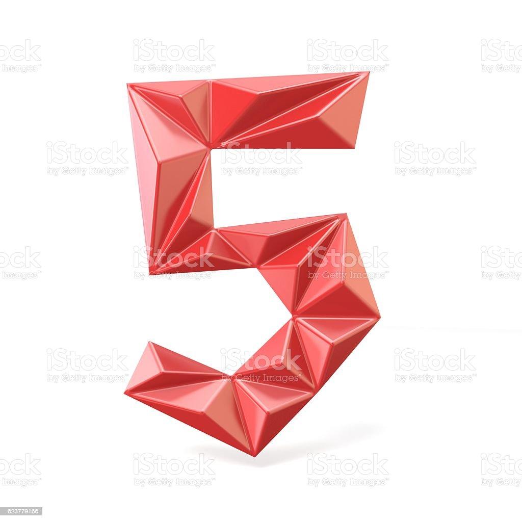 Red modern triangular font digit FIVE 5 3D stock photo