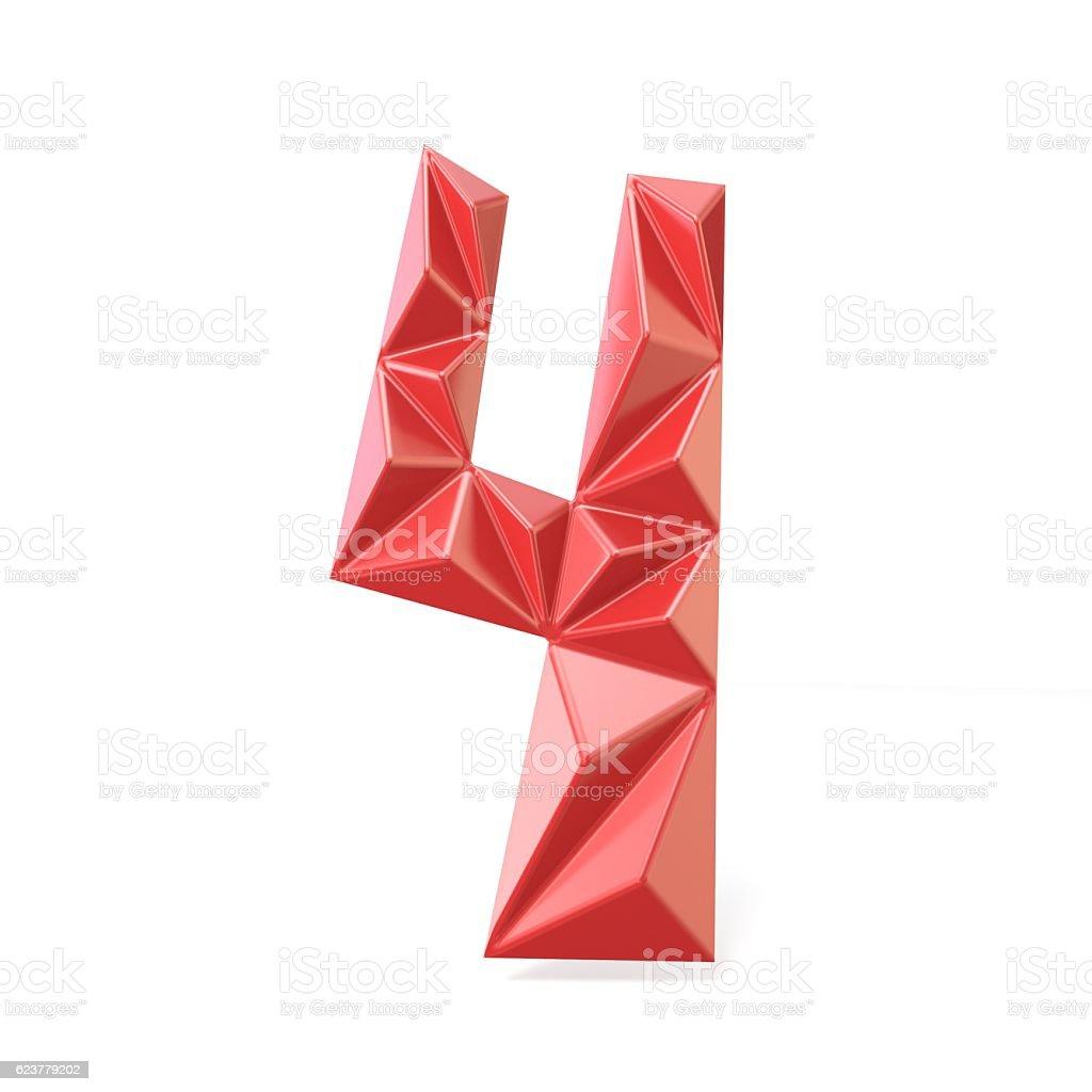 Red modern triangular font digit FOUR 4 3D stock photo