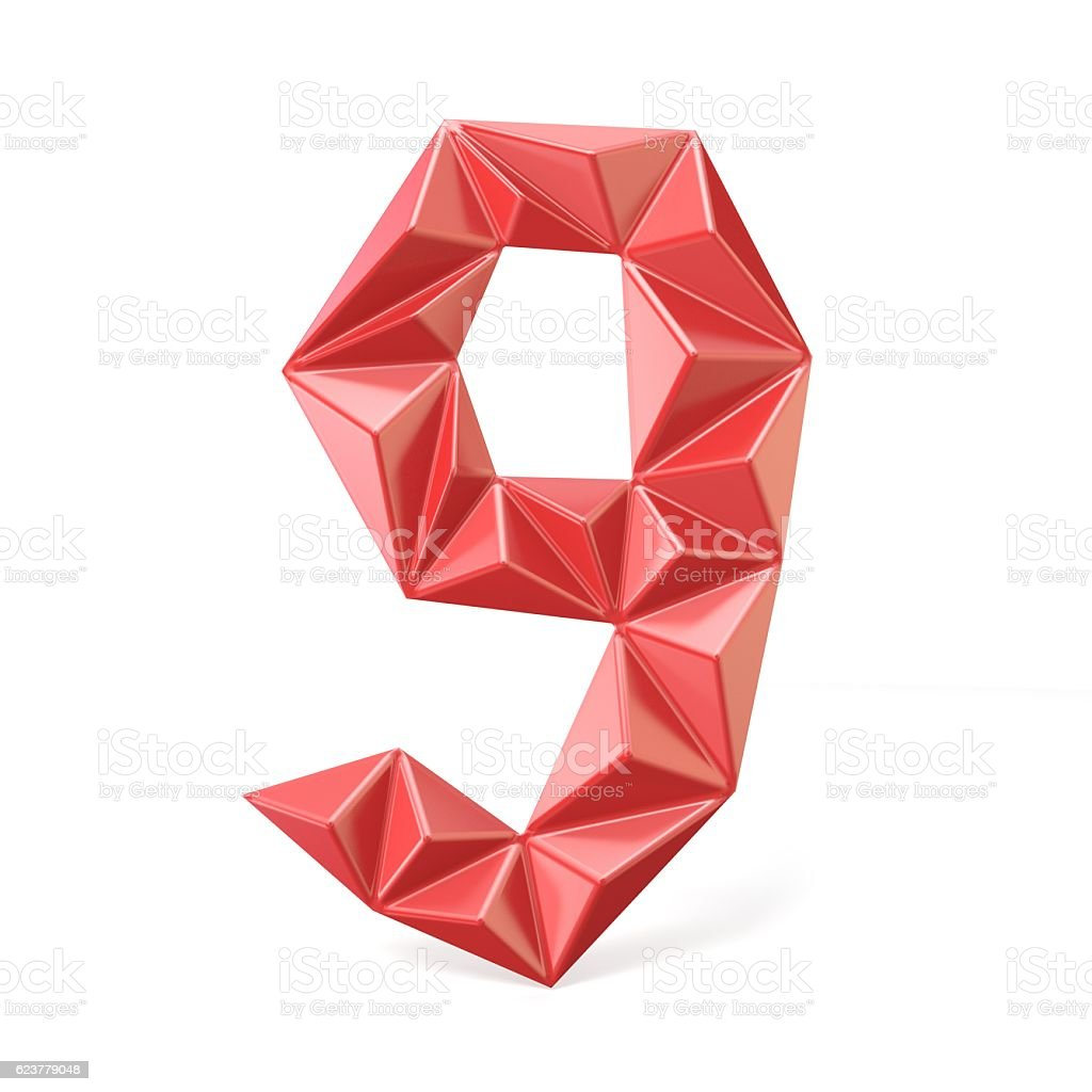 Red modern triangular font digit NINE 9 3D stock photo
