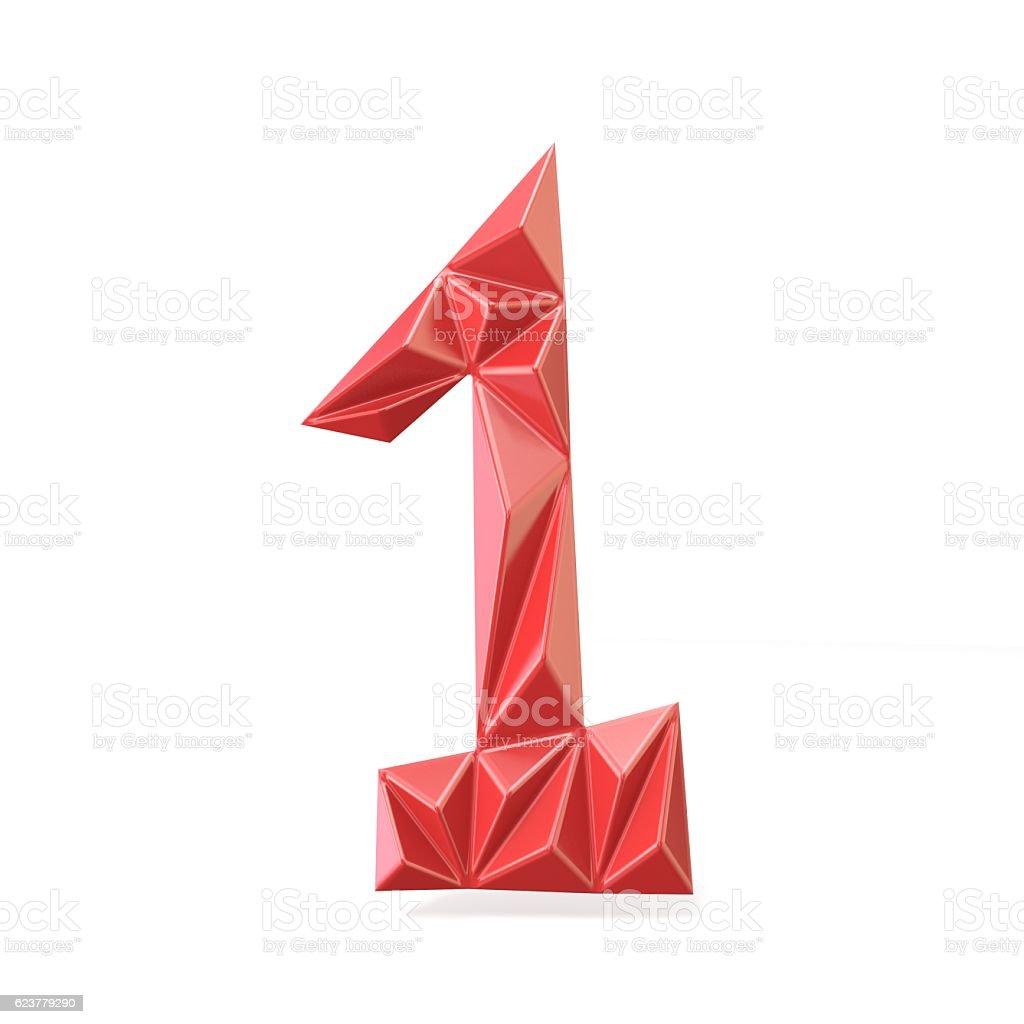 Red modern triangular font digit ONE 1 3D stock photo
