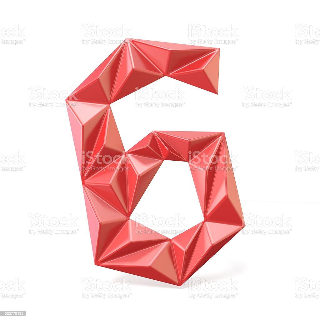 Red modern triangular font digit SIX 6 3D stock photo