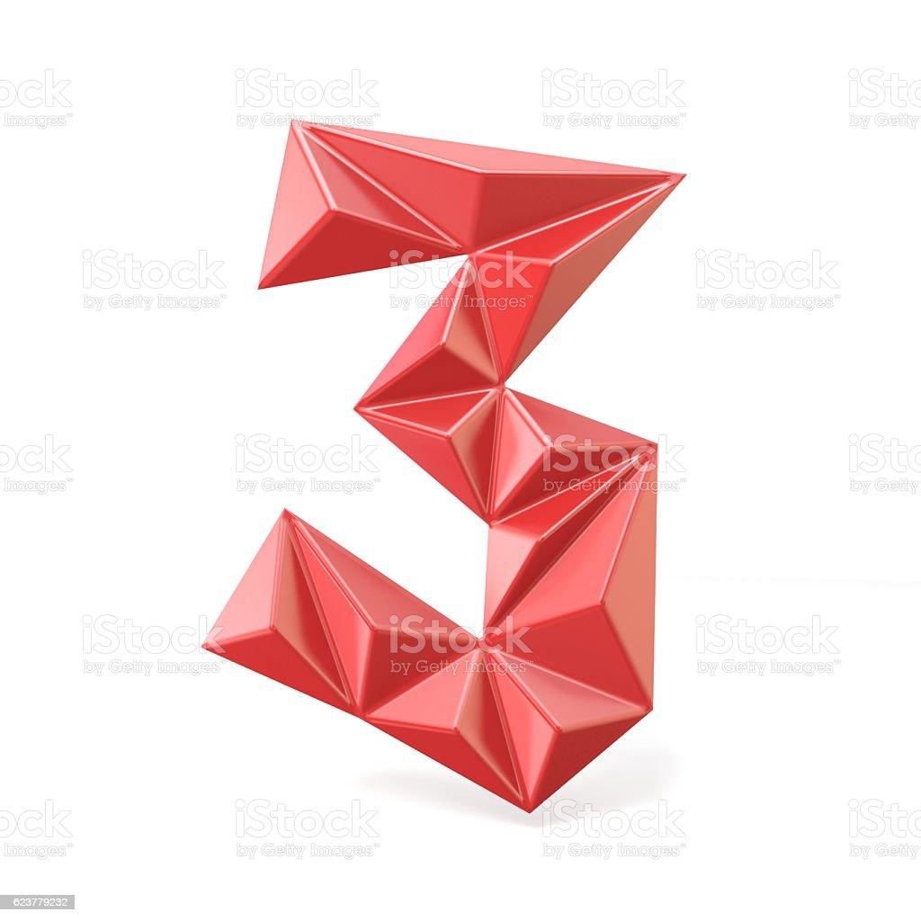 Red modern triangular font digit THREE 3 3D stock photo