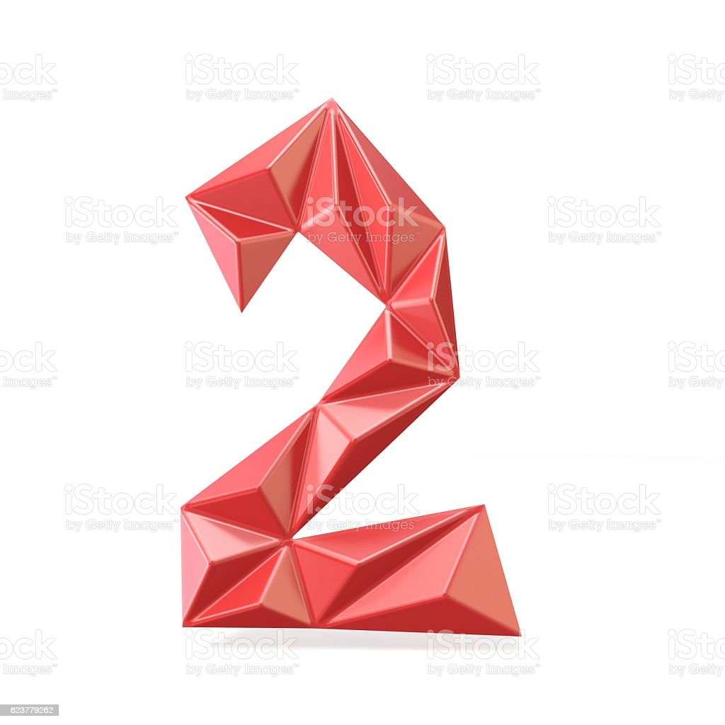 Red modern triangular font digit TWO 2 3D stock photo