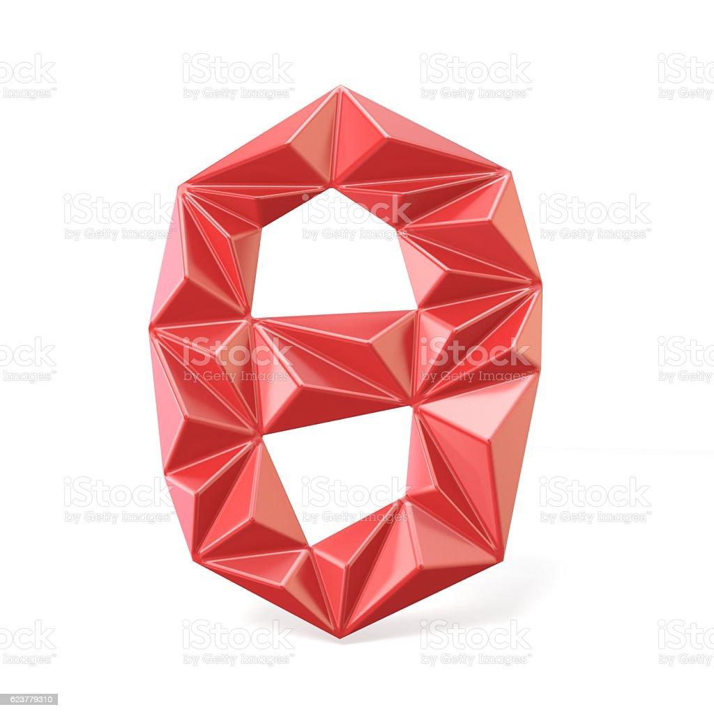 Red modern triangular font digit ZERO 0 3D stock photo