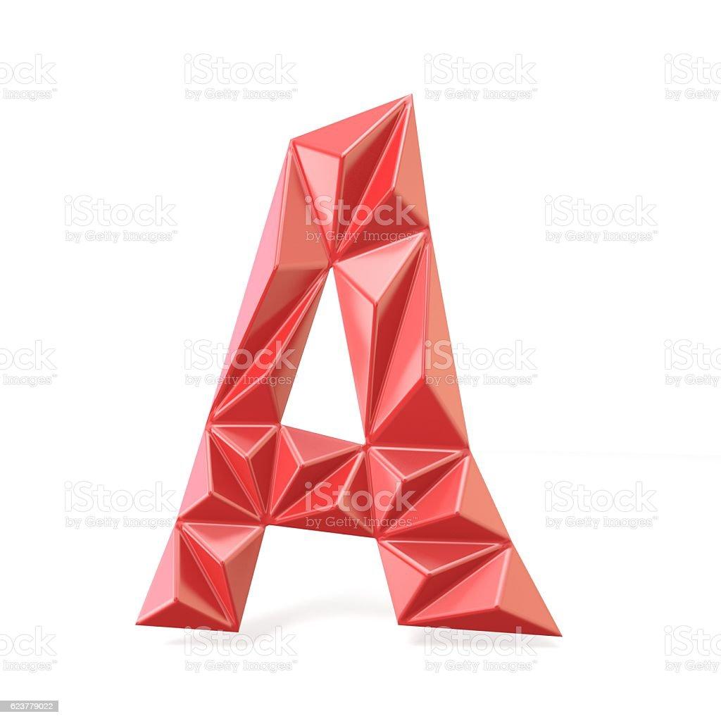 Red modern triangular font letter A. 3D stock photo