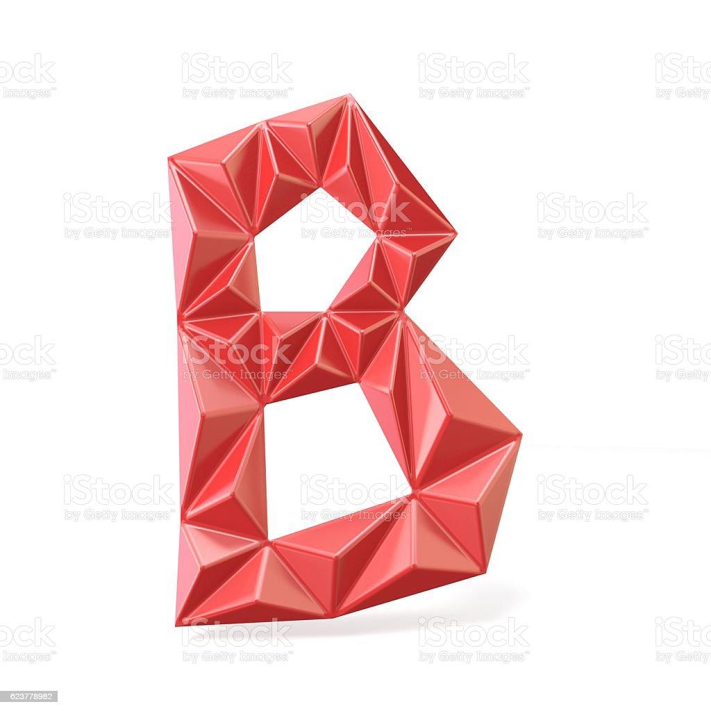 Red modern triangular font letter B 3D stock photo