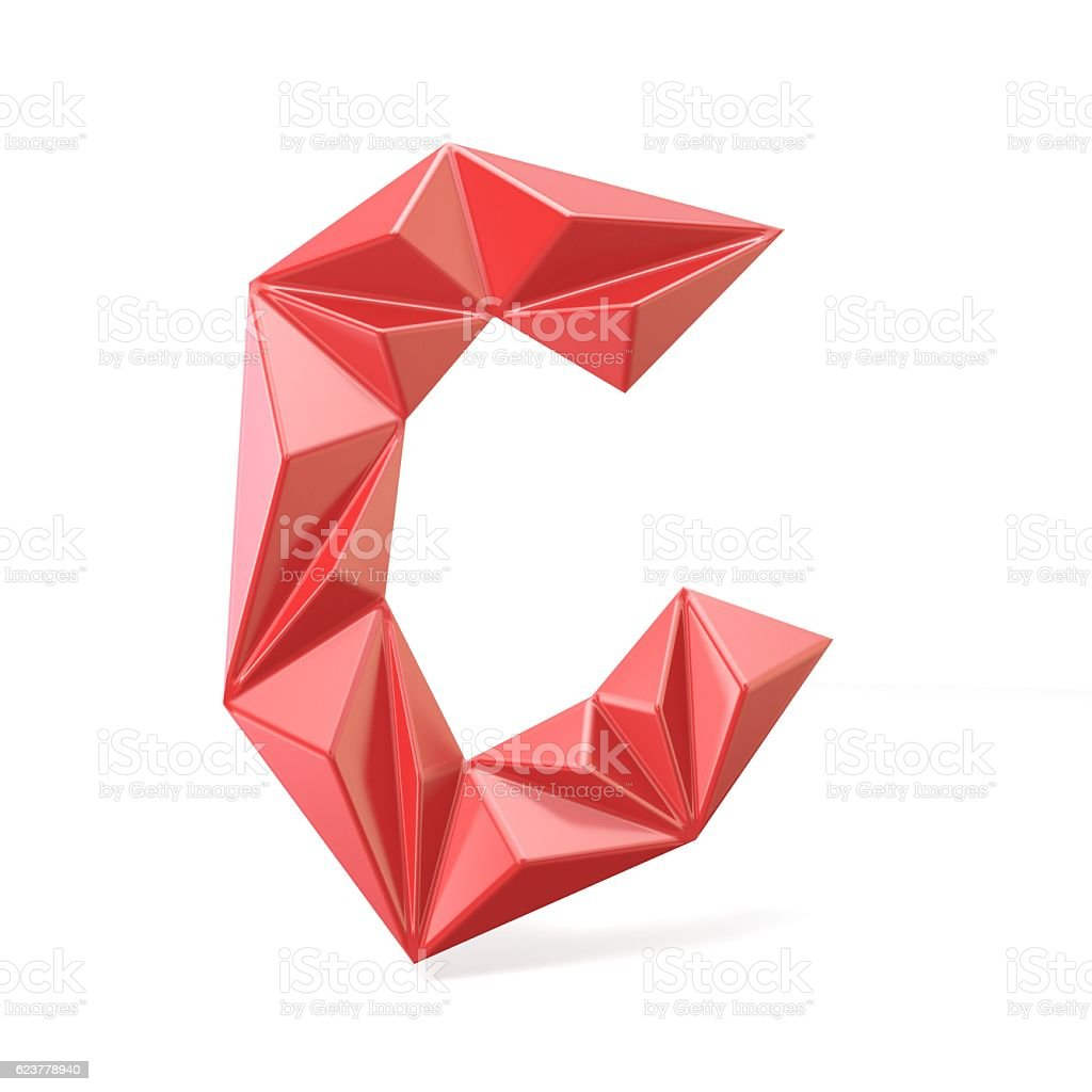 Red modern triangular font letter C. 3D stock photo