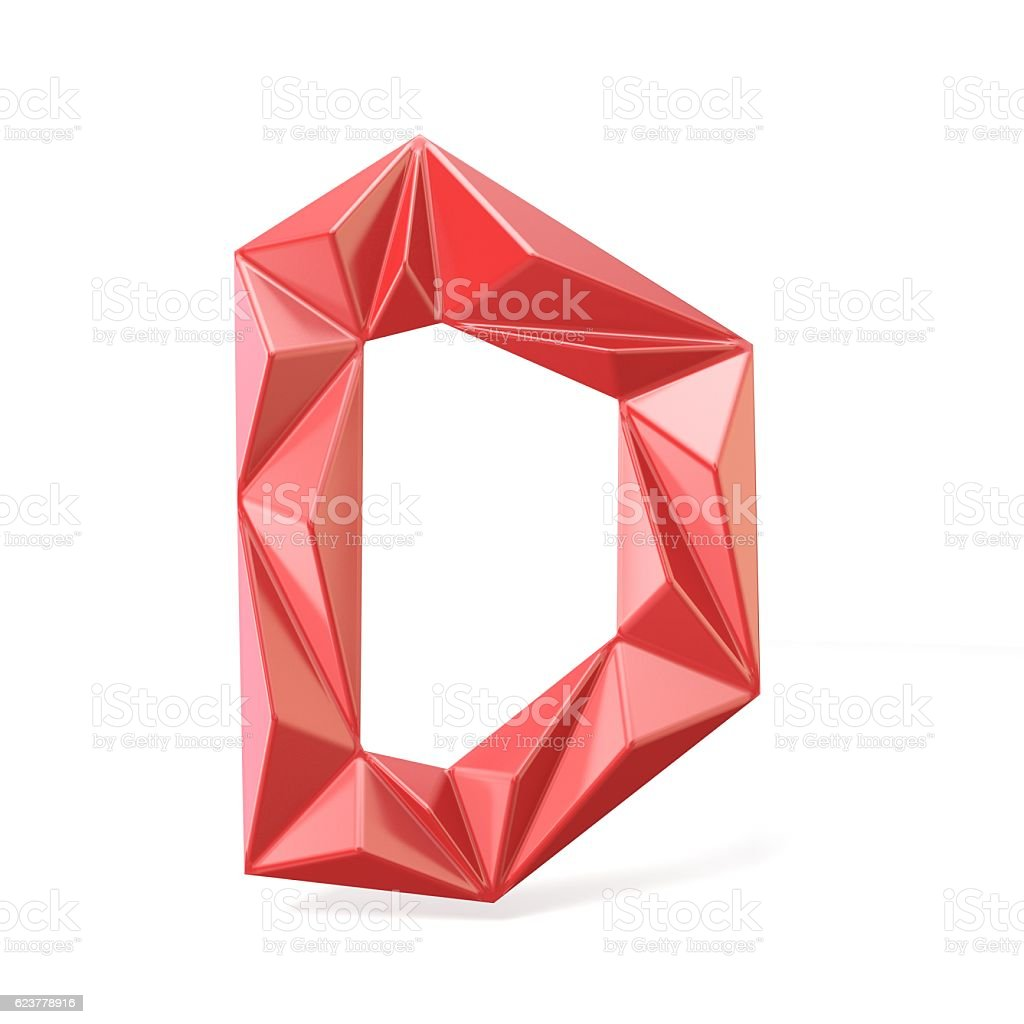 Red modern triangular font letter D. 3D stock photo