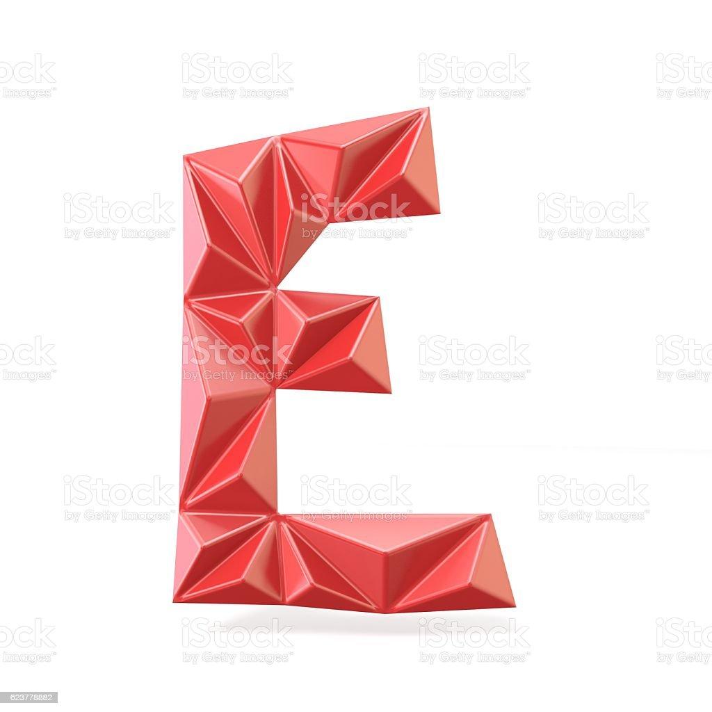 Red modern triangular font letter E. 3D stock photo