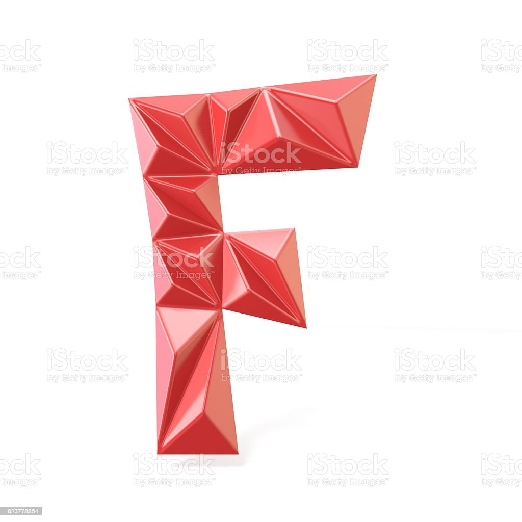 Red modern triangular font letter F. 3D stock photo