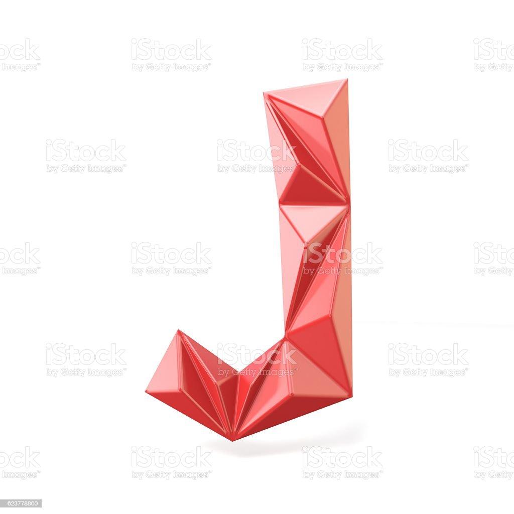 Red modern triangular font letter J. 3D stock photo