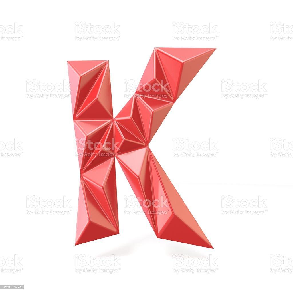 Red modern triangular font letter K. 3D stock photo