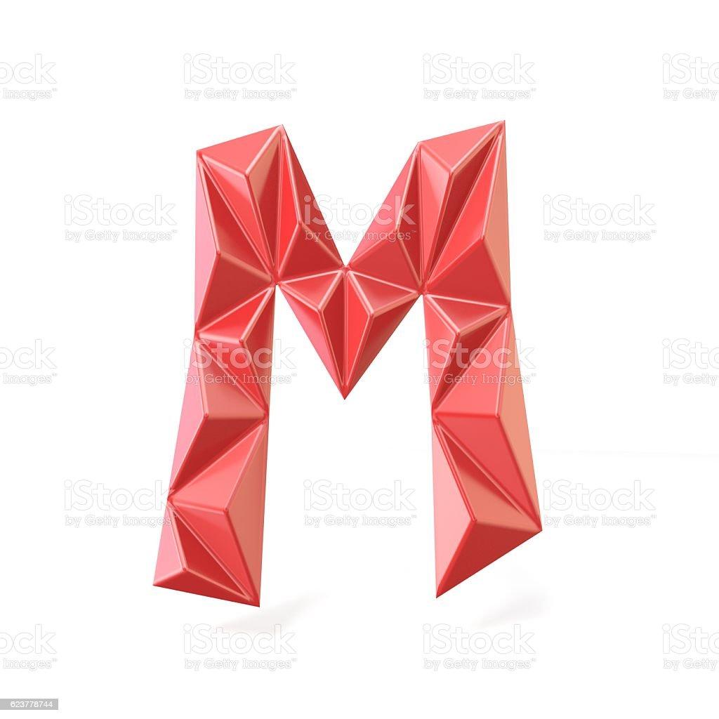 Red modern triangular font letter M. 3D stock photo