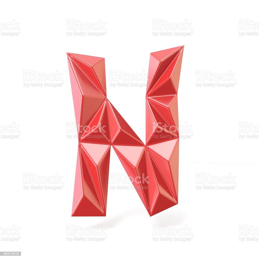 Red modern triangular font letter N. 3D stock photo
