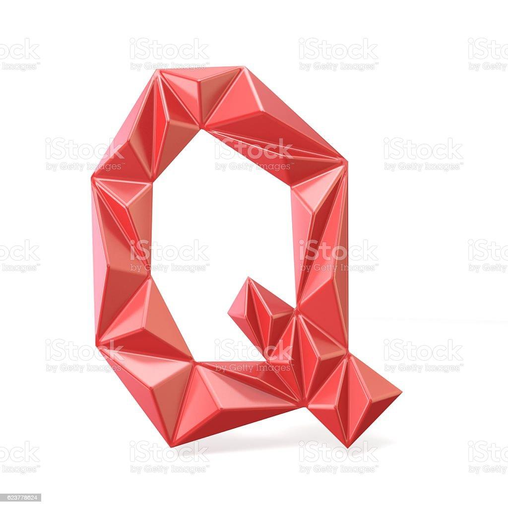 Red modern triangular font letter Q. 3D stock photo