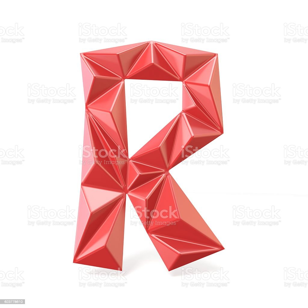 Red modern triangular font letter R. 3D stock photo