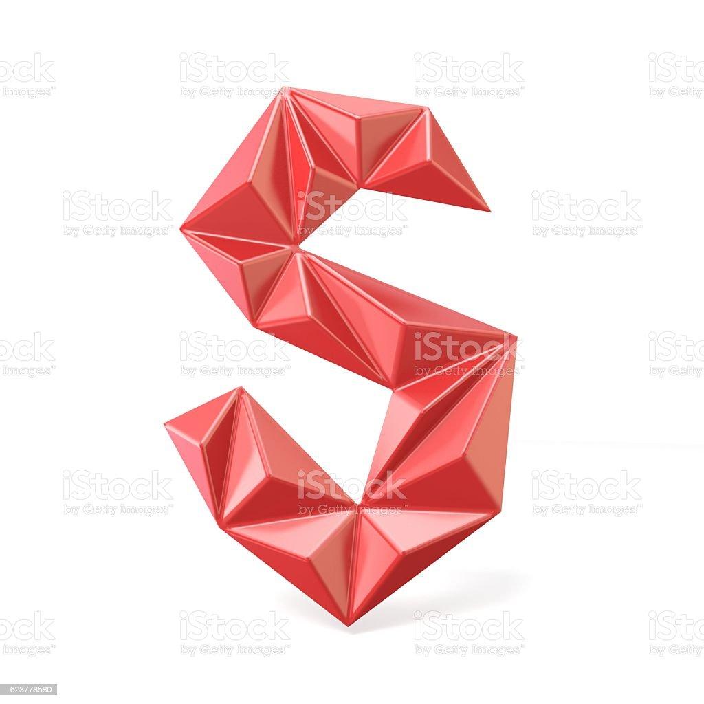 Red modern triangular font letter S. 3D stock photo