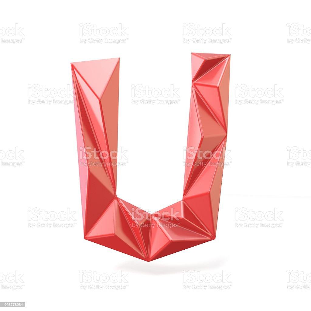 Red modern triangular font letter U. 3D stock photo