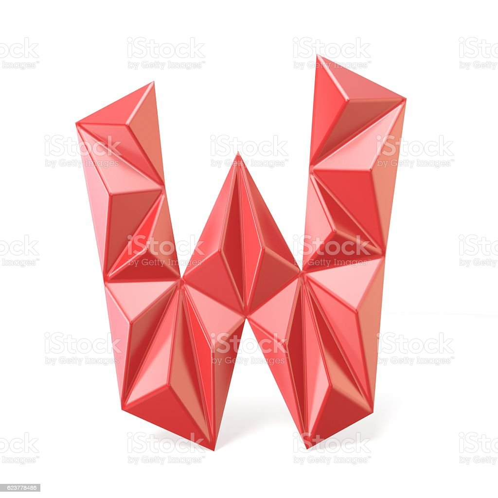 Red modern triangular font letter W. 3D stock photo