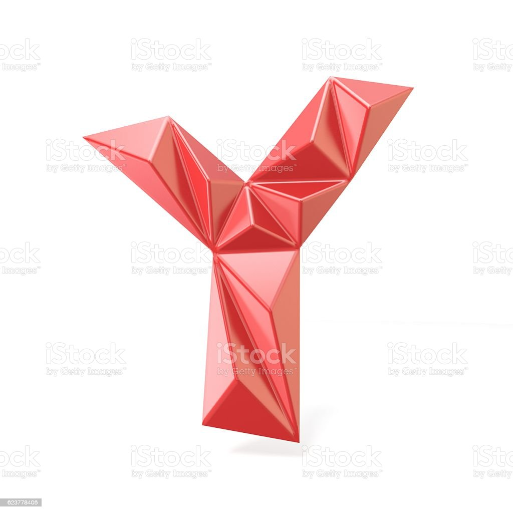 Red modern triangular font letter Y. 3D stock photo