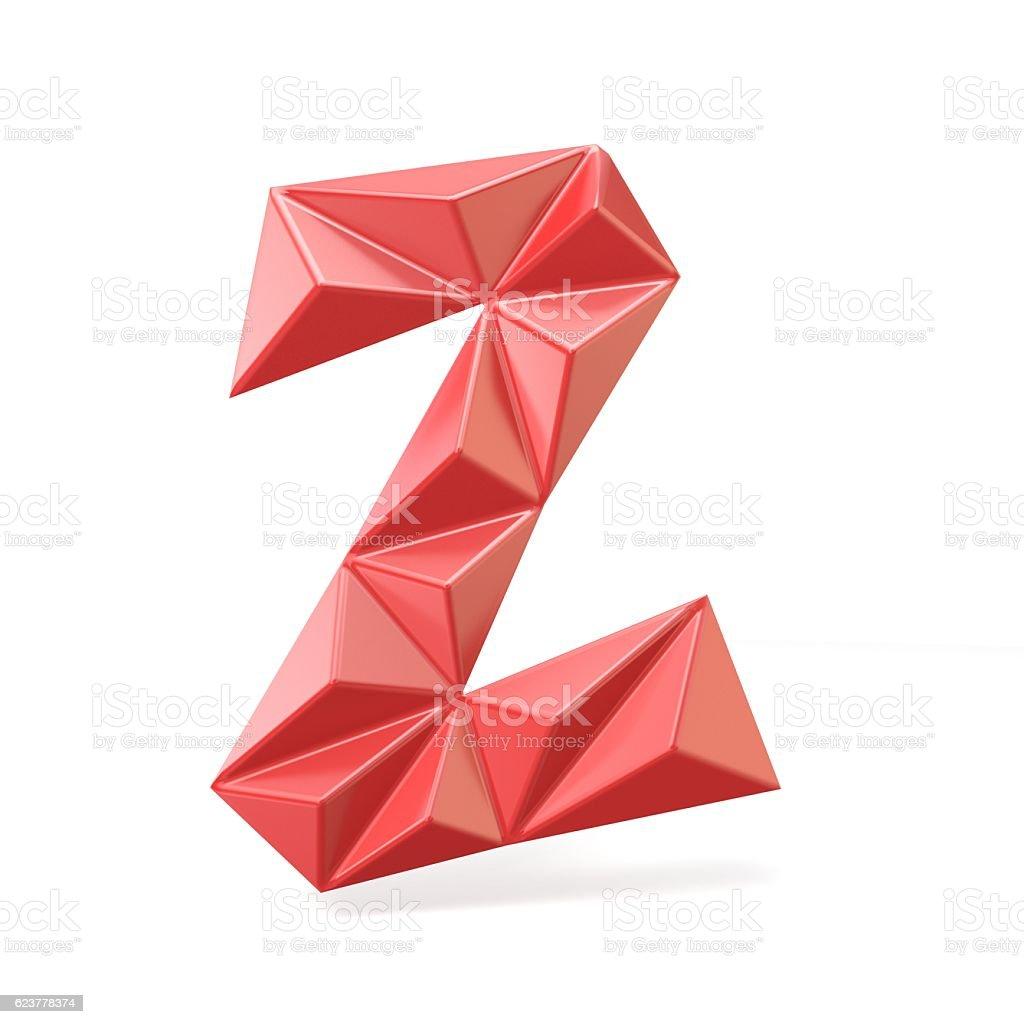 Red modern triangular font letter Z. 3D stock photo