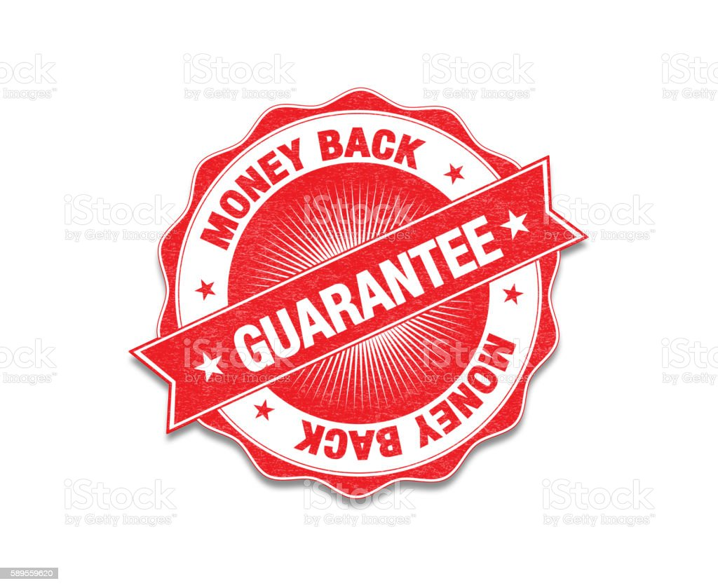 Red 'Money Back Guarantee' Stamp On White stock photo