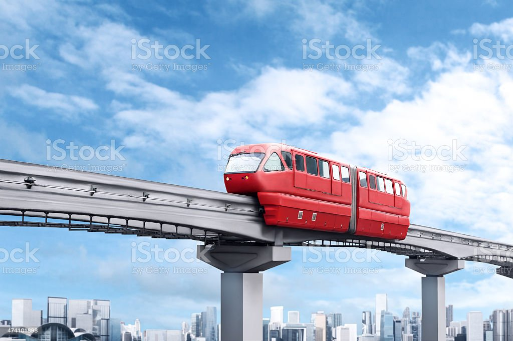 Red monorail train stock photo