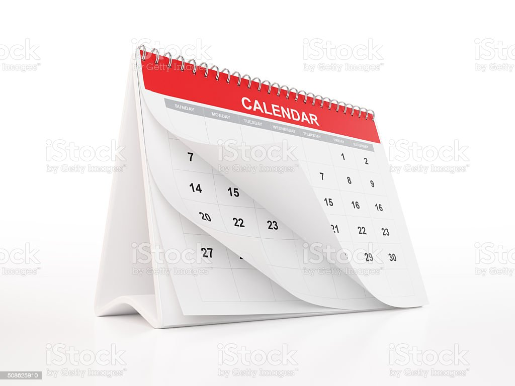 Red Monthly Desktop Calendar stock photo