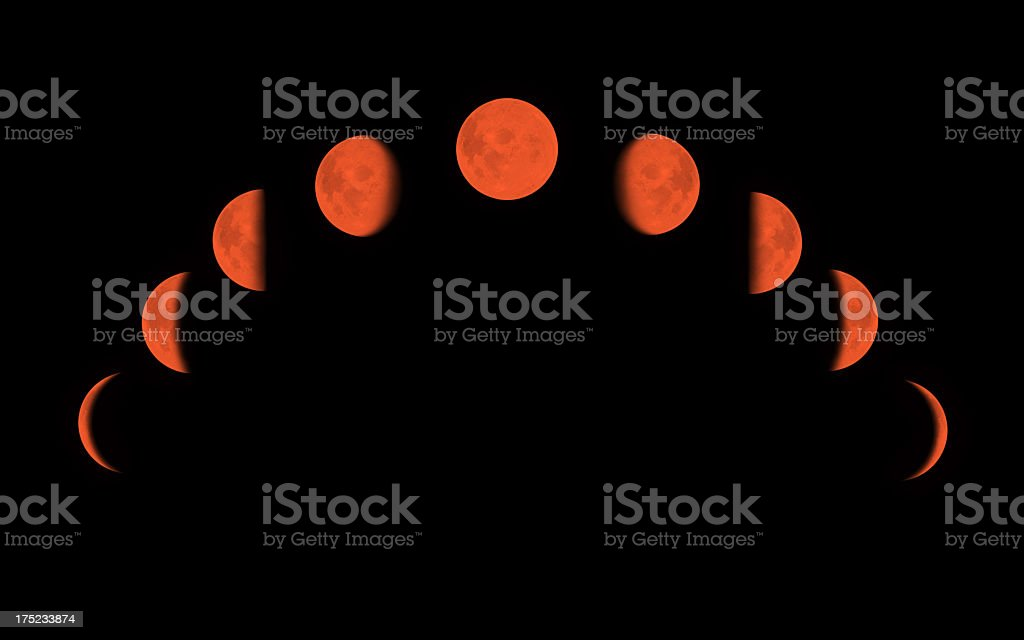 Red Moon surface with different phases stock photo
