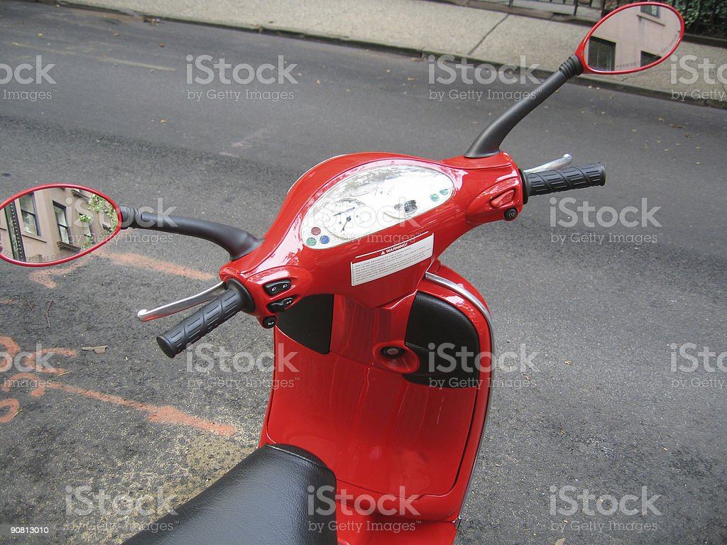 Red moped royalty-free stock photo