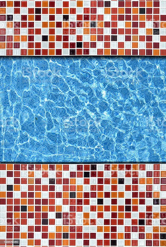 red mosaic pavement with pool edge background royalty-free stock photo
