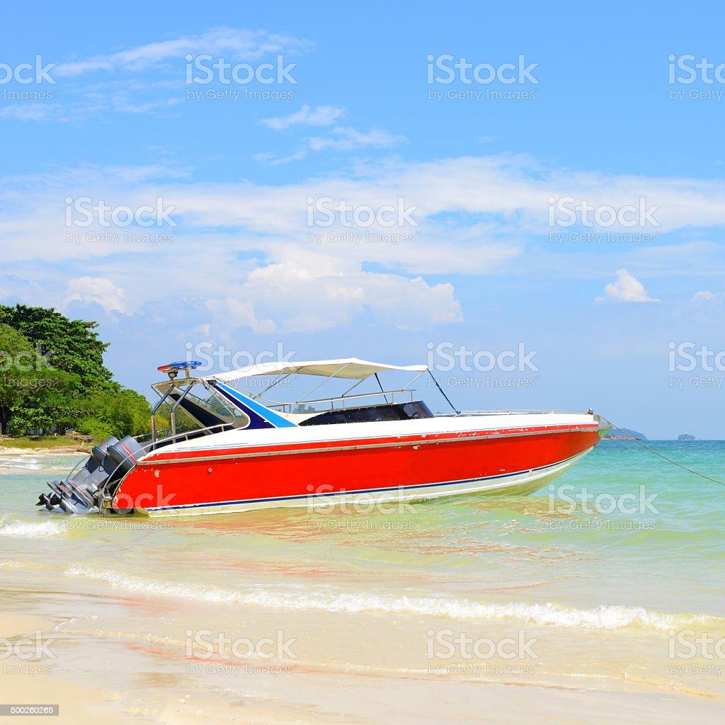 Red motor boat stock photo