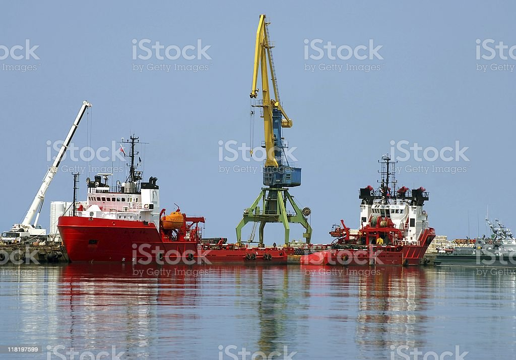 Red motorboat stock photo