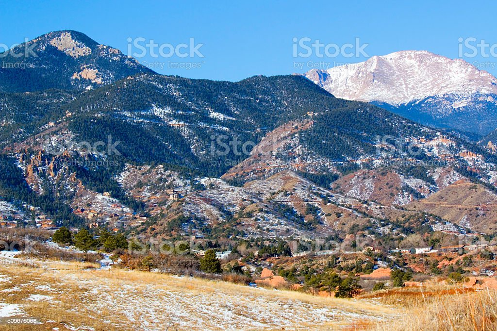 Red Mountain and Snow covered Pikes Peak stock photo