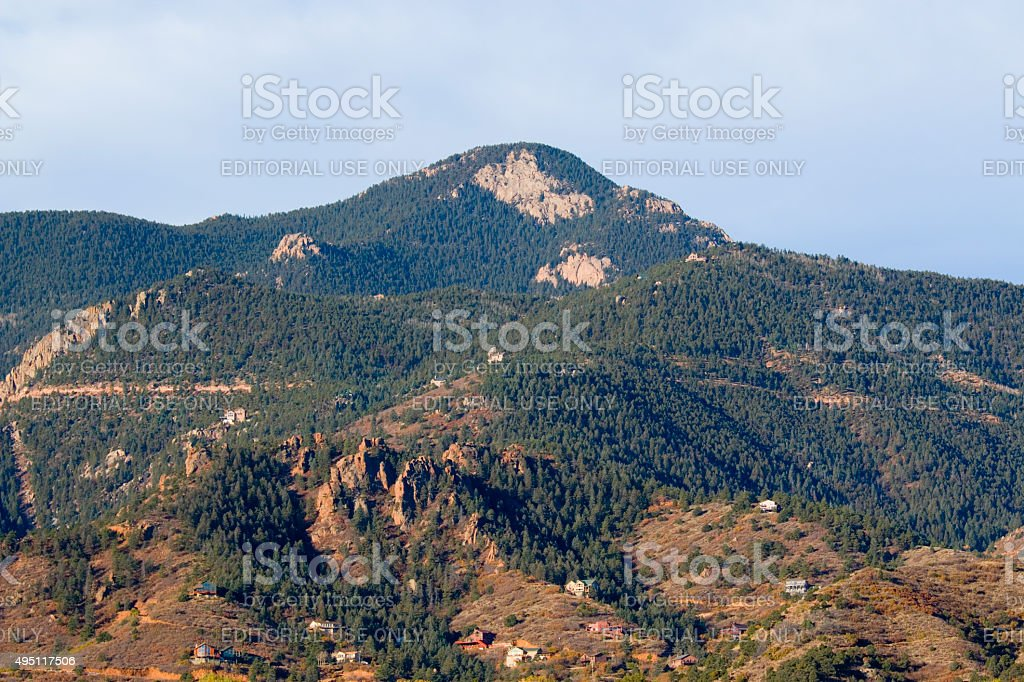 Red Mountain in the foothills of Pikes Peak Colorado stock photo